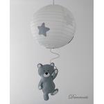 lustre suspension abat jour lampe ours gris beige blanc mixte garçon fille chambre