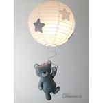 lustre suspension abat jour lampe ours gris beige blanc mixte garçon fille chambre 3