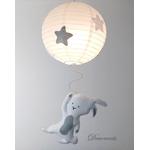 lustre suspension abat jour lampe lapin gris beige blanc mixte garçon fille chambre 3