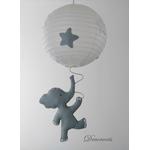 lustre suspension abat jour lampe elephant gris beige blanc mixte garçon fille chambre