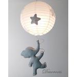 lustre suspension abat jour lampe elephant gris beige blanc mixte garçon fille chambre 3
