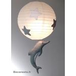 lustre suspension abat jour lampe dauphin gris beige blanc mixte garçon fille chambre 3