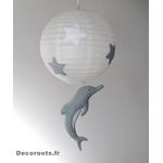 lustre suspension abat jour lampe dauphin gris beige blanc mixte garçon fille chambre