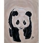 tableau enfant bébé panda décoration beige noir et blanc