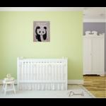 tableau enfant bébé panda décoration beige noir et blanc prénom 3