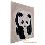 tableau enfant bébé panda décoration beige noir et blanc prénom 2