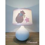 lampe de chevet fille ours blanc rose beige étoile 3