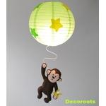 lustre enfant bébé jungle singe vert anis jaune marron chocolat décoration