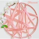 attrape rêve fille rose corail fleurs papillon décoration 2