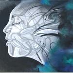 tableau design la brume noir multicolore art artiste visage