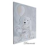 tableau enfant bébé ours polaire gris nuage chambre décoration