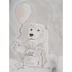 tableau enfant bébé ours polaire gris nuage