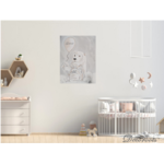 tableau enfant bébé ours polaire gris nuage chambre décoration beige