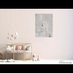 tableau enfant bébé ours polaire gris nuage chambre décoration mixte