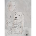 tableau enfant bébé ours polaire gris nuage personnalisable prénom