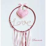 attrape rêve coeur vieux rose pastel love écriture zoom