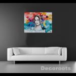 tableau art artiste peint à la main femme multicolore tache peinture jaune turquoise rouge noir et blanc décoration salon gris.anthracite