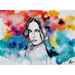 tableau art artiste peint à la main femme multicolore tache peinture jaune turquoise rouge noir et blanc