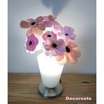 lampe de chevet enfant bébé fille vase fleurs rose pastel beige blanc cadeau baptème