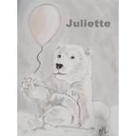 tableau enfant bébé ours polaire gris nuage j