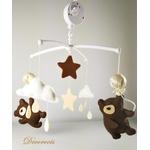 mobile bébé ours  beige chocolat mixte