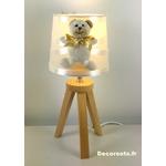 lampe chevet ours beige allumé