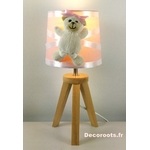 lampe chevet ours rose blanc