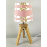 lampe chevet ours fille rose blanc
