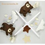 mobile bébé ours feutrine beige chocolat