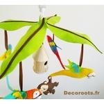 mobile bébé musiacal jungle perroquet singe