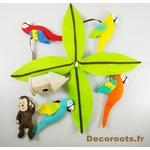 mobile bébé musical jungle perroquet multicolore chocolat vert anis feutrine artisanal