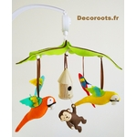 mobile bébé musical jungle perroquet multicolore chocolat vert anis feutrine