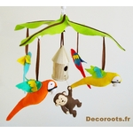 mobile bébé musical jungle perroquet multicolore chocolat