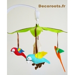 mobile bébé musical jungle perroquet multicolore