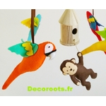 mobile bébé musical jungle perroquet multicolore chocolat vert anis feutrine 2