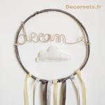 attrape rêve dream décoration enfant bébé gris beige nuage