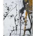 tableau art contemporain design femme visage noir blanc or pluie