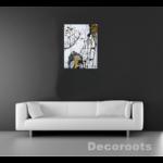 tableau art contemporain design femme visage noir blanc or pluie artiste peint main