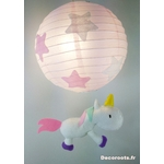 lampe lustre licorne luminaire étoile rose blanc fille
