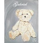 tableau enfant bebe ours peluche gris et beige mixte personnalisable prénom