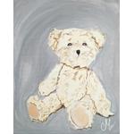 tableau enfant bebe ours peluche gris et beige mixte