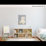 tableau enfant bebe ours peluche gris et beige mixte décoration chambre