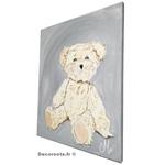 tableau enfant bebe ours peluche gris et beige mixte décoration