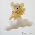 mobile bébé animaux fille ours lapin mouton chat rose blanc gris cadeau naissance décoration