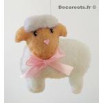 mobile bébé animaux fille ours lapin mouton chat rose blanc gris cadeau naissance 3
