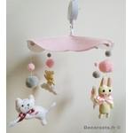 mobile bébé animaux fille ours lapin mouton chat rose blanc gris cadeau naissance  5