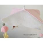 mobile bébé animaux fille ours lapin mouton chat rose blanc gris cadeau naissance 7