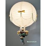 lampe montgolfière beige vert menthe décoration enfant allumé