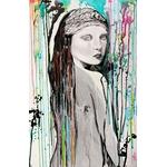 tableau design femme multicolore peint à la main visage noir et blanc