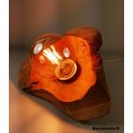 lampe design nature teck zen bois fleur blanche allumée